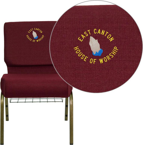 Flash Furniture FD-CH0221-4-GV-3169-BAS-EMB-GG Embroidered HERCULES Series 21'' Extra Wide Burgundy Church Chair with 4'' Thick Seat, Communion Cup Book Rack - Gold Vein Frame - Peazz Furniture
