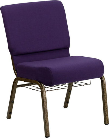 Flash Furniture FD-CH0221-4-GV-ROY-BAS-GG HERCULES Series 21'' Extra Wide Royal Purple Church Chair with 4'' Thick Seat, Communion Cup Book Rack - Gold Vein Frame - Peazz Furniture