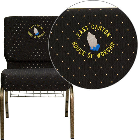 Flash Furniture FD-CH0221-4-GV-S0806-BAS-EMB-GG Embroidered HERCULES Series 21'' Extra Wide Black Dot Patterned Church Chair with 4'' Thick Seat, Communion Cup Book Rack - Gold Vein Frame - Peazz Furniture