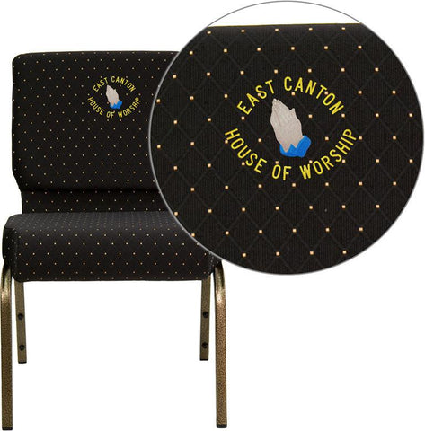 Flash Furniture FD-CH0221-4-GV-S0806-EMB-GG Embroidered HERCULES Series 21'' Extra Wide Black Dot Patterned Stacking Church Chair with 4'' Thick Seat - Gold Vein Frame - Peazz Furniture