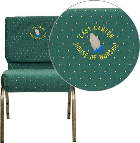 Flash Furniture FD-CH0221-4-GV-S0808-EMB-GG Embroidered HERCULES Series 21'' Extra Wide Hunter Green Dot Patterned Stacking Church Chair with 4'' Thick Seat - Gold Vein Frame - Peazz Furniture
