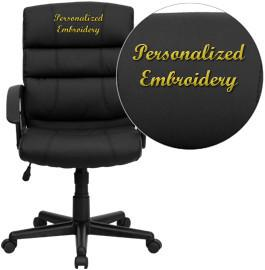 Flash Furniture GO-1004-BK-LEA-EMB-GG Embroidered Mid-Back Black Leather Office Chair - Peazz Furniture