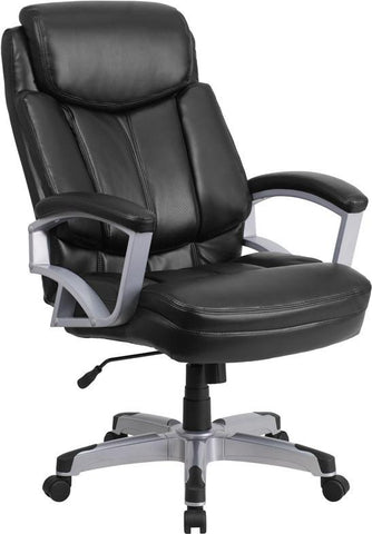 Flash Furniture GO-1850-1-LEA-GG HERCULES Series 500 lb. Capacity Big & Tall Black Leather Executive Office Chair - Peazz Furniture