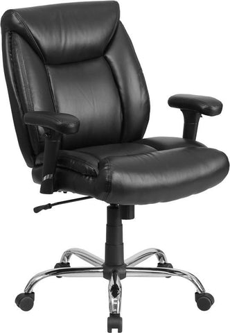Flash Furniture GO-2073-LEA-GG HERCULES Series 400 lb. Capacity Big & Tall Black Leather Task Chair with Height Adjustable Arms - Peazz Furniture