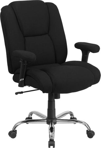 Flash Furniture GO-2132F-GG HERCULES Series 400 lb. Capacity Big & Tall Black Fabric Task Chair with Height Adjustable Arms - Peazz Furniture