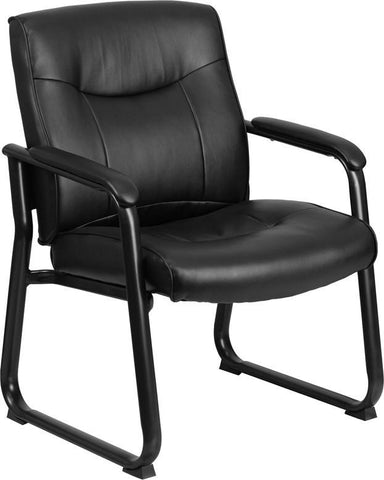 Flash Furniture GO-2136-GG HERCULES Series Big & Tall 500 lb. Capacity Black Leather Executive Side Chair with Sled Base - Peazz Furniture
