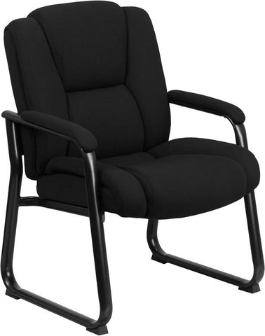 Flash Furniture GO-2138F-GG HERCULES Series Big & Tall 500 lb. Capacity Black Fabric Executive Side Chair with Sled Base - Peazz Furniture