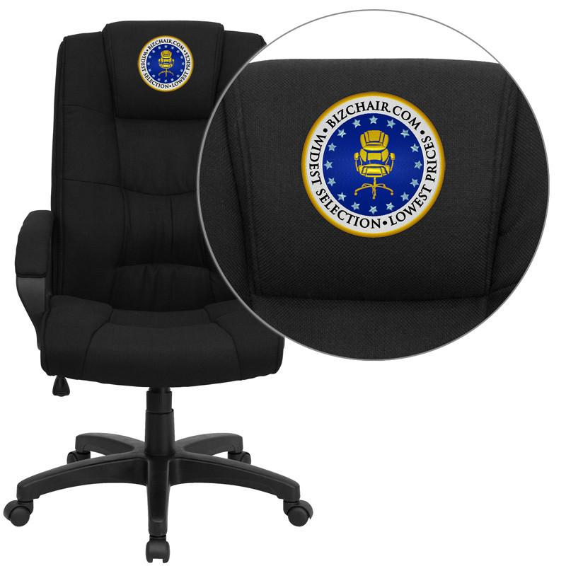 Executive | Furniture | Embroider | Office | Fabric | Flash | Chair | Black | Back | High