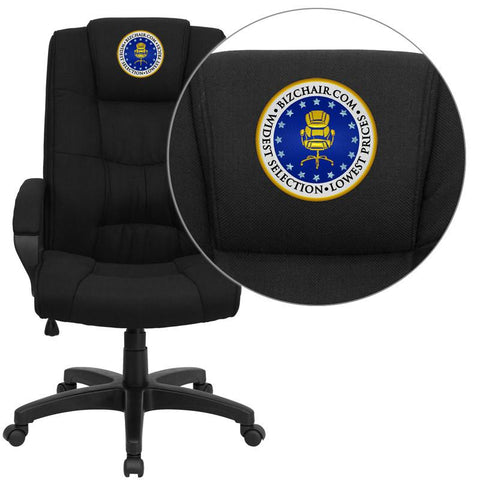 Flash Furniture GO-5301B-BK-EMB-GG Embroidered High Back Black Fabric Executive Office Chair - Peazz Furniture