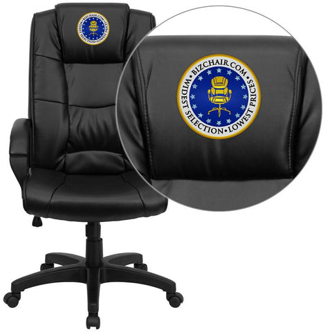 Flash Furniture GO-5301B-BK-LEA-EMB-GG Embroidered High Back Black Leather Executive Office Chair - Peazz Furniture