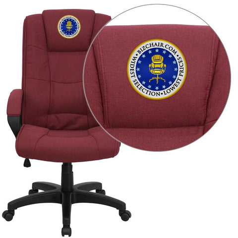 Flash Furniture GO-5301B-BY-EMB-GG Embroidered High Back Burgundy Fabric Executive Office Chair - Peazz Furniture