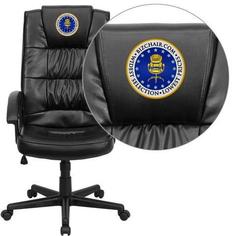 Flash Furniture GO-7102-EMB-GG Embroidered High Back Black Leather Executive Office Chair - Peazz Furniture