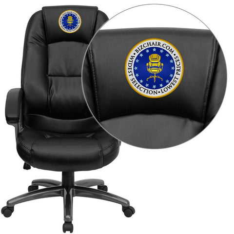Flash Furniture GO-7145-BK-EMB-GG Embroidered High Back Black Leather Executive Office Chair - Peazz Furniture