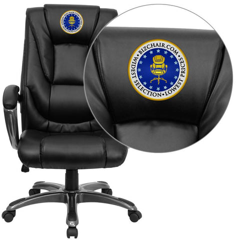 Flash Furniture GO-7194B-BK-EMB-GG Embroidered High Back Black Leather Executive Office Chair - Peazz Furniture