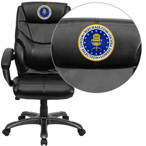 Flash Furniture GO-724H-BK-LEA-EMB-GG Embroidered High Back Black Leather Overstuffed Executive Office Chair - Peazz Furniture