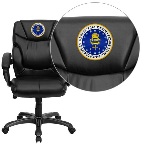 Flash Furniture GO-724M-MID-BK-LEA-EMB-GG Embroidered Mid-Back Black Leather Overstuffed Office Chair - Peazz Furniture