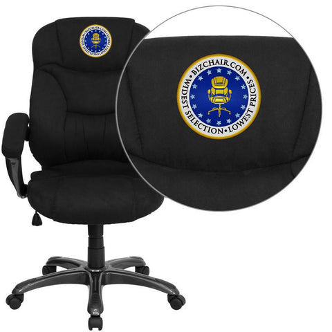 Flash Furniture GO-725-BK-EMB-GG Embroidered High Back Black Microfiber Upholstered Contemporary Office Chair - Peazz Furniture