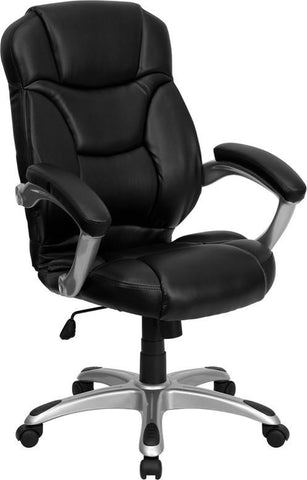 High Back Black Leather Contemporary Office Chair GO-725-BK-LEA-GG by Flash Furniture - Peazz Furniture
