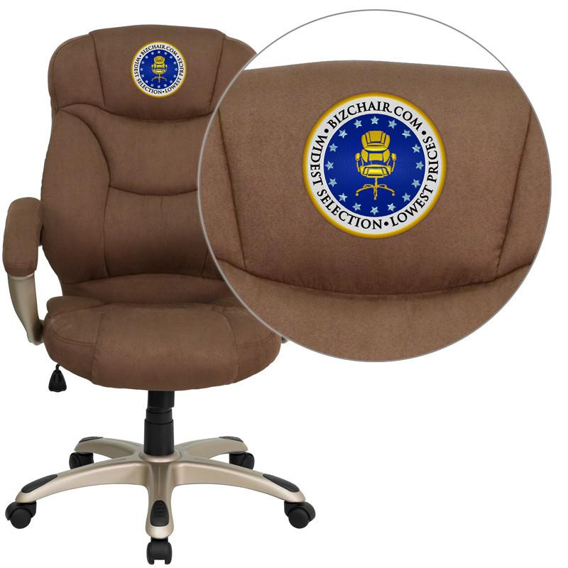 Contemporary | Microfiber | Upholster | Furniture | Embroider | Office | Flash | Brown | Chair | Back | High