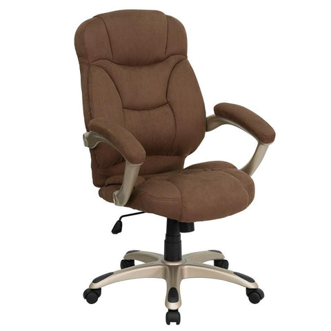 High Back Brown Microfiber Upholstered Contemporary Office Chair GO-725-BN-GG by Flash Furniture - Peazz Furniture