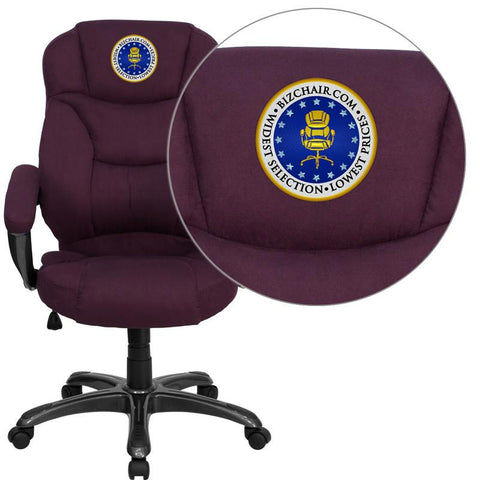 Flash Furniture GO-725-GRPE-EMB-GG Embroidered High Back Grape Microfiber Upholstered Contemporary Office Chair - Peazz Furniture