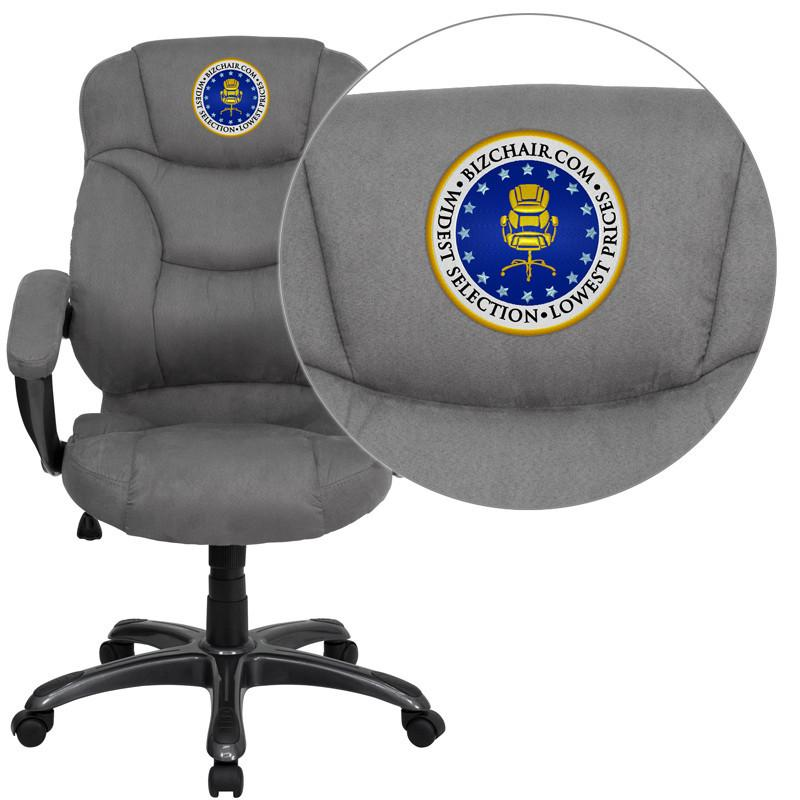 Contemporary | Microfiber | Upholster | Furniture | Embroider | Office | Flash | Chair | Back | High | Gray