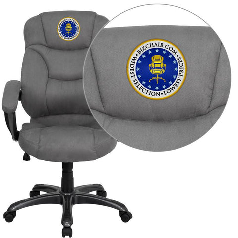 Flash Furniture GO-725-GY-EMB-GG Embroidered High Back Gray Microfiber Upholstered Contemporary Office Chair - Peazz Furniture