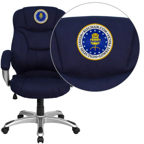 Flash Furniture GO-725-NVY-EMB-GG Embroidered High Back Navy Blue Microfiber Upholstered Contemporary Office Chair - Peazz Furniture