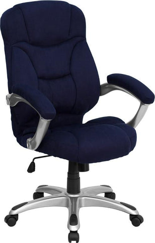 High Back Navy Blue Microfiber Upholstered Contemporary Office Chair GO-725-NVY-GG by Flash Furniture - Peazz Furniture