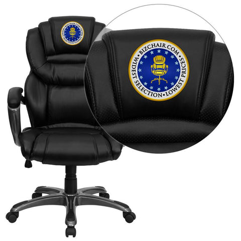 Flash Furniture GO-901-BK-EMB-GG Embroidered High Back Black Leather Executive Office Chair with Leather Padded Loop Arms - Peazz Furniture