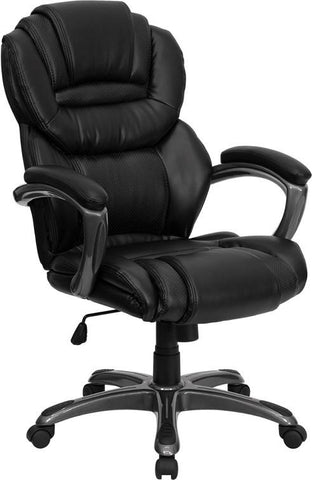 High Back Black Leather Executive Office Chair with Leather Padded Loop Arms GO-901-BK-GG by Flash Furniture - Peazz Furniture
