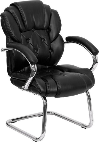 Black Leather Transitional Side Chair with Padded Arms and Sled Base GO-908V-BK-SIDE-GG by Flash Furniture - Peazz Furniture