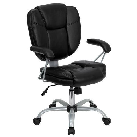 Mid-Back Black Leather Task and Computer Chair GO-930-BK-GG by Flash Furniture - Peazz Furniture