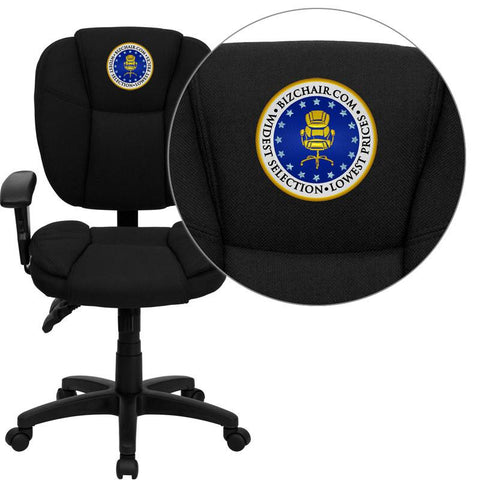 Flash Furniture GO-930F-BK-ARMS-EMB-GG Embroidered Mid-Back Black Fabric Multi-Functional Ergonomic Task Chair with Arms - Peazz Furniture
