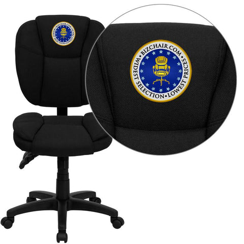 Flash Furniture GO-930F-BK-EMB-GG Embroidered Mid-Back Black Fabric Multi-Functional Ergonomic Task Chair - Peazz Furniture