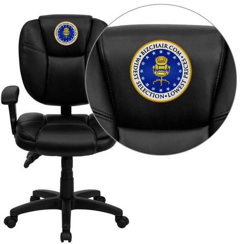 Flash Furniture GO-930F-BK-LEA-ARMS-EMB-GG Embroidered Mid-Back Black Leather Multi-Functional Ergonomic Task Chair with Arms - Peazz Furniture