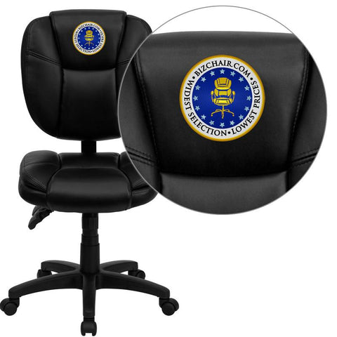 Flash Furniture GO-930F-BK-LEA-EMB-GG Embroidered Mid-Back Black Leather Multi-Functional Ergonomic Task Chair - Peazz Furniture