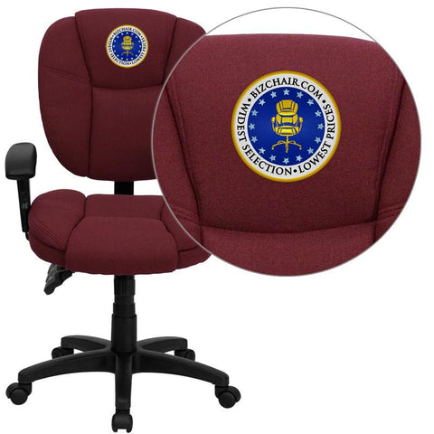 Flash Furniture GO-930F-BY-ARMS-EMB-GG Embroidered Mid-Back Burgundy Fabric Multi-Functional Ergonomic Task Chair with Arms - Peazz Furniture