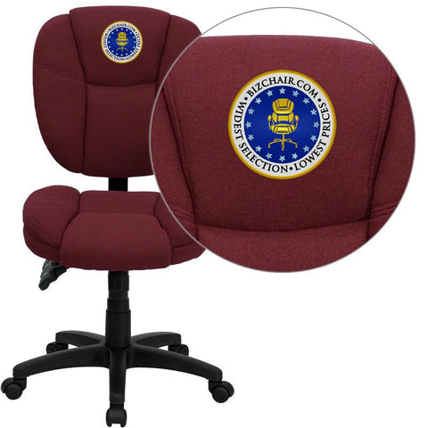 Flash Furniture GO-930F-BY-EMB-GG Embroidered Mid-Back Burgundy Fabric Multi-Functional Ergonomic Task Chair - Peazz Furniture