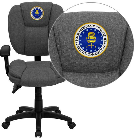 Flash Furniture GO-930F-GY-ARMS-EMB-GG Embroidered Mid-Back Gray Fabric Multi-Functional Ergonomic Task Chair with Arms - Peazz Furniture