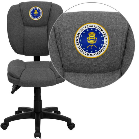 Flash Furniture GO-930F-GY-EMB-GG Embroidered Mid-Back Gray Fabric Multi-Functional Ergonomic Task Chair - Peazz Furniture