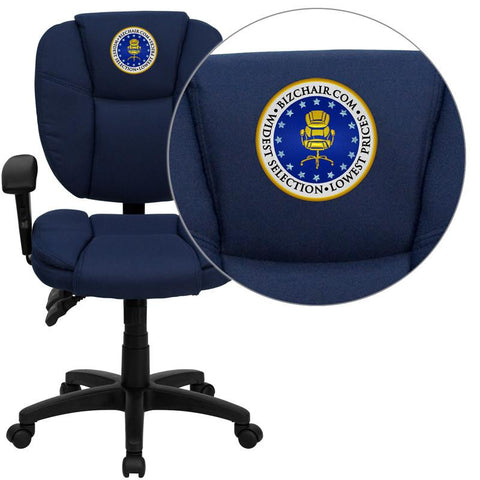 Flash Furniture GO-930F-NVY-ARMS-EMB-GG Embroidered Mid-Back Navy Blue Fabric Multi-Functional Ergonomic Task Chair with Arms - Peazz Furniture
