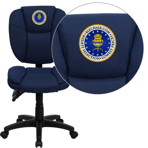 Flash Furniture GO-930F-NVY-EMB-GG Embroidered Mid-Back Navy Blue Fabric Multi-Functional Ergonomic Task Chair - Peazz Furniture