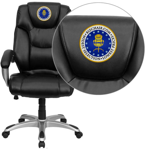 Flash Furniture GO-931H-BK-EMB-GG Embroidered High Back Black Leather Executive Office Chair - Peazz Furniture