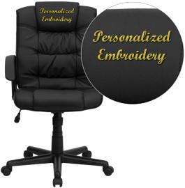 Flash Furniture GO-937M-BK-LEA-EMB-GG Embroidered Mid-Back Black Leather Office Chair - Peazz Furniture