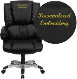 Flash Furniture GO-958-BK-EMB-GG Embroidered High Back Black Leather OverStuffed Executive Office Chair - Peazz Furniture