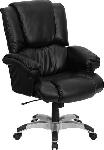 High Back Black Leather OverStuffed Executive Office Chair GO-958-BK-GG by Flash Furniture - Peazz Furniture