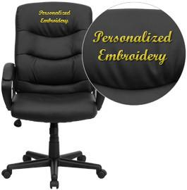 Flash Furniture GO-977-1-BK-LEA-EMB-GG Embroidered Mid-Back Black Leather Office Chair - Peazz Furniture