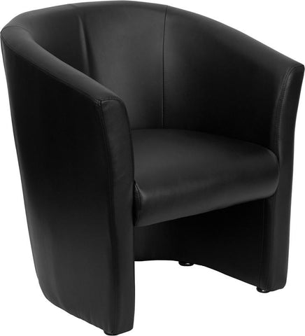 Black Leather Barrel-Shaped Guest Chair GO-S-01-BK-QTR-GG by Flash Furniture - Peazz Furniture