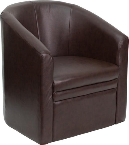 Brown Leather Barrel-Shaped Guest Chair GO-S-03-BN-FULL-GG by Flash Furniture - Peazz Furniture